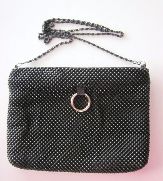 80s Vintage La Regale Black Bead Mesh Purse or Evening Bag with a Metal Chain 1970s