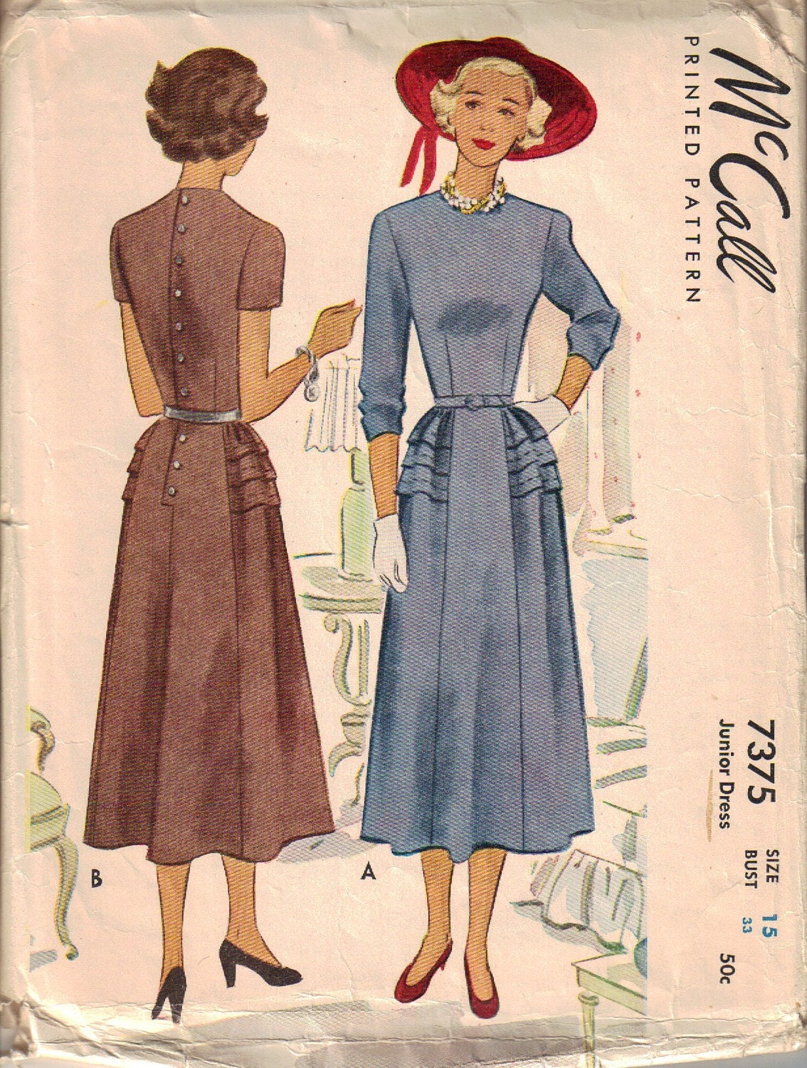 40s Mccall 7375 Dress With Back Button Closure Jewel Neck