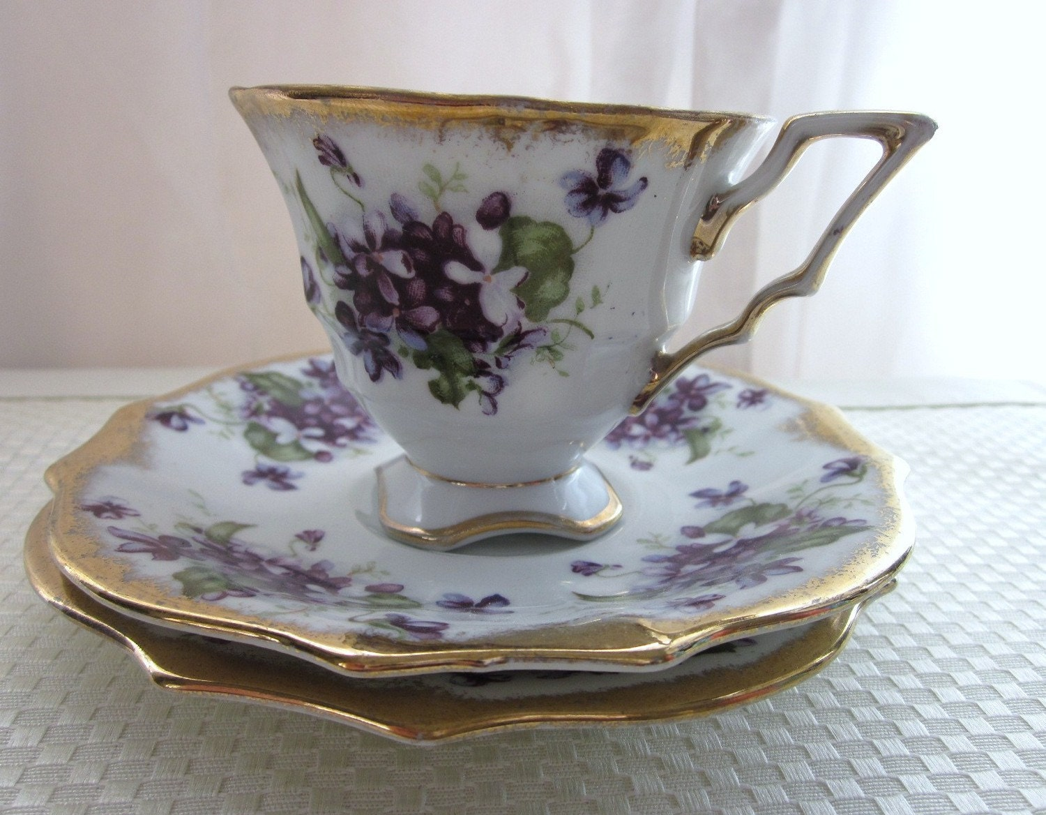 Royal Sealy China Scalloped Footed Tea Cup and 2 by slovintage