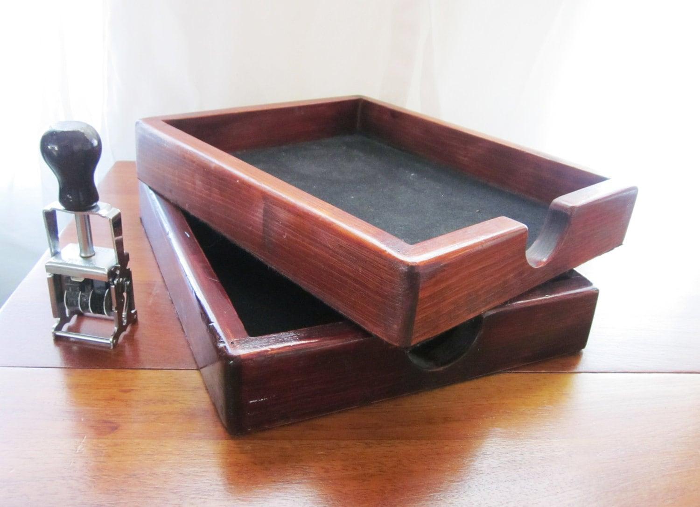 Vintage Wood Desk Paper Holder File Organizer Storage Set Of 2