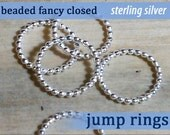 Beaded Jump Rings (soldered closed) 16g 13mm diameter sterling silver 925