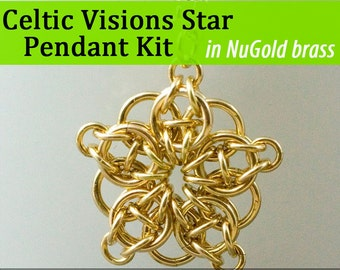 Celtic Visions Star Pendant Chainmaille Kit in NuGold Brass