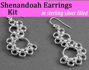 Shenandoah Earrings Chainmaille Kit in Silver Fill