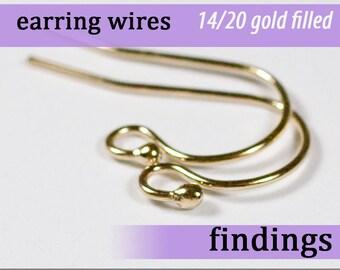 14k gold fill balled earring wires ball ear hooks hook earring wire