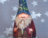 Blue Bonnet, wood gnome, hand painted gourd, 8 inches tall