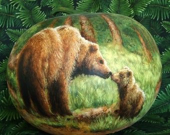 Grizzly Bears in the Hills, hand painted gourd, 7 1/2 inches tall, 9 1/2 inches diameter