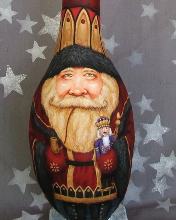 Nutcracker Santa, tall gourd, hand painted Santa Claus, unique gift, 20 inches tall