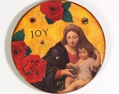 Religious Fridge Magnet Madonna and Child Magnet Virgin Mary Holy Card Red Roses Decoupaged Refrigerator Magnet Joy