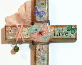 Decoupaged Wall Cross  Mixed Media Cross Embellished Wood Cross Aqua Green Pink Butterfiles