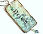 Dream Key Chain Decoupaged Wood Rectangle Swarovski Light Blue