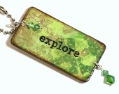 Decoupaged Keychain Green Key Chain Crystal Embellished Inspirational Word Explore Key Fob Gifts Under 10