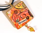 Decoupaged Pendant Boho Jewelry Groovy Hippie Bohemian Necklace Orange Peach Yellow Gifts for Her
