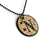 Monogrammed Pendant Necklace Initial Jewelry with Crystals Vintage Dictionary Print Librarian Teacher Book Lover Gift