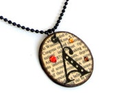 Initial Pendant Book Lover Necklace Monogrammed Jewelry Swarovski Crystals Personalized Dictionary Print Teacher Librarian Gift for Her
