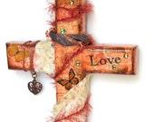 Wall Cross Mixed Media Decoupaged Wood Cross Crucifix Swarovski Crystal Vintage Lace Peach Butterflies Catholic Wall Decor Christian Art