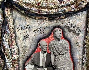 Mixed Media Art Original Collage Vintage Photo Black and White Gray Red Midwest Americana Nostalgia Elderly Couple