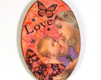 Refrigerator Magnet Madonna Virgin Mary Catholic Gift Holy Card Fridge Magnet Decoupaged Mixed Media Mothers Day Gift for Mom