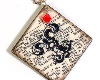 Personalized Keychain Black White Initial Monogram Key Chain Vintage Dictionary Crystal Custom Stocking Stuffer