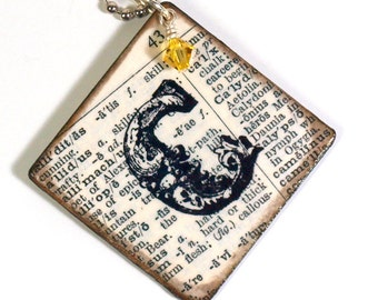 Monogram Keychain Decoupaged Personalized Initial Key Chain Vintage Dictionary Crystal Librarian Teacher Gift for Her