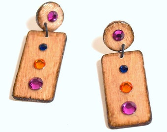 Natural Wood Earrings Post Multicolor Crystal Geometric Fall Autumn Jewelry Gifts for Her