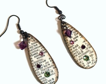 Teardrop Earrings Decoupaged Vintage Dictionary Print Dangle Purple Crystal Teacher Librarian Gift