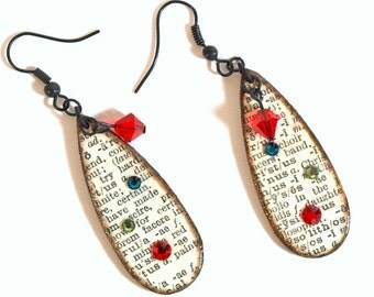 Teardrop Earrings Decoupaged Vintage Dictionary Dangle Red Crystal Drop Teacher Librarian Gift