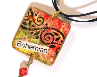 Bohemian Pendant Necklace Boho Fashion Decoupaged Jewelry Muliticolor Jewelry Boho Necklace Gifts for Her