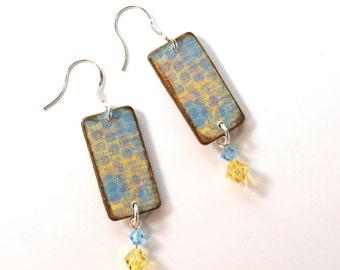 Summer Dangle Earrings Decoupaged Wood Crystal Drop Light Blue Yellow Boho Jewelry
