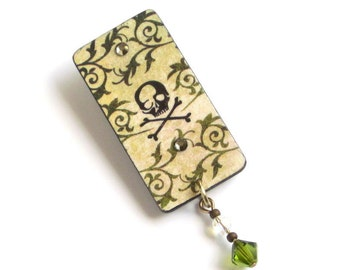 Halloween Pin Goth Lapel Pin Spooky Jewelry Black Skull Brooch Decoupaged Olive Green Crystal