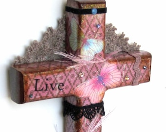 Decoupaged Wall Cross Decorated Wood Mixed Media Christian Art Catholic Wall Decor Crucifix Lavender Purple Butterflies Religious Gift