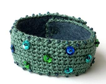Cotton Crochet Cuff Bracelet Beaded Sequins Bohemian Boho Moss Green Wearable Art Fall Autumn Jewelry