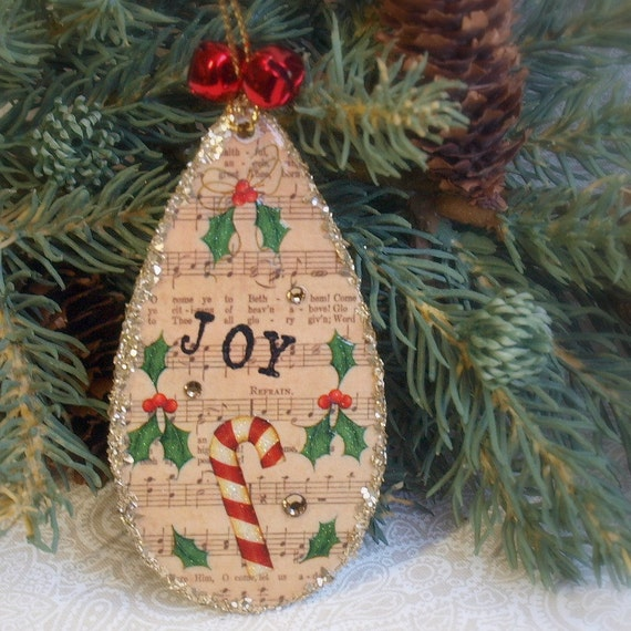 Christmas Ornament Sheet Music Joy Holly Candy Cane Red and Green