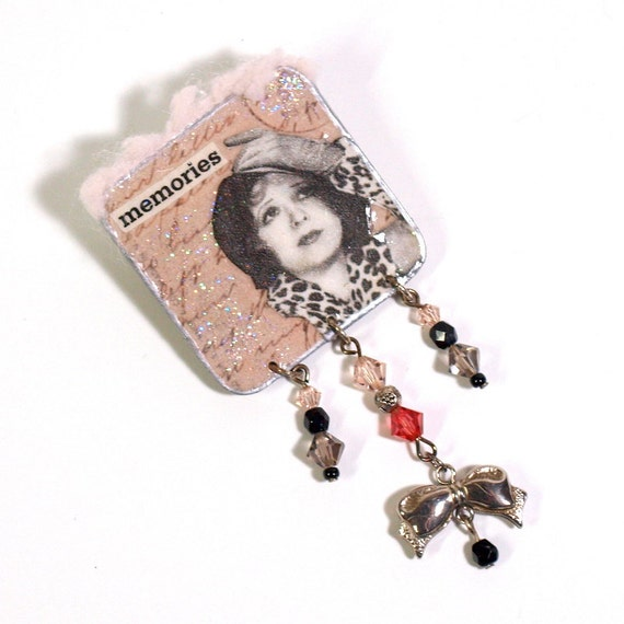 Brooch Decoupaged Vintage Style Lapel Pin Gray Pink Woman Silver Bow Gift for Her Memories Mixed Media Jewelry Vintage Woman
