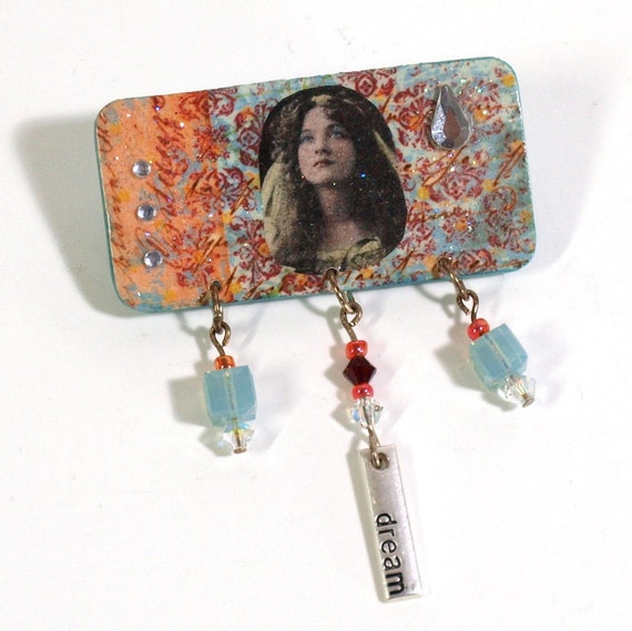 CLEARANCE Decoupaged Pin Brooch Vintage Image Woman Crystal Pale Aqua Peach Collaged Mixed Media Wearable Art Gift for Her