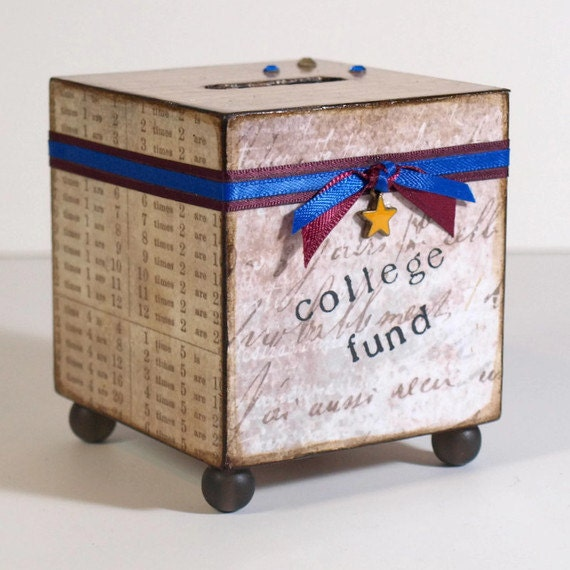 Child's Coin Bank Decoupaged Bank Back to School College Childrens Savings Bank Taupe