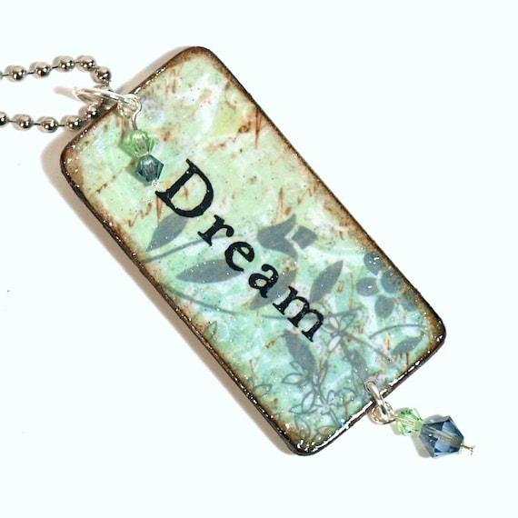 Dream Key Chain Decoupaged Wood Rectangle Swarovski Light Blue