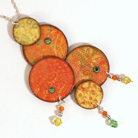 Statement Necklace Decoupaged Circle Pendant Necklace Orange Boho Bohemian Decoupaged Spring Jewelry Clearance Sale