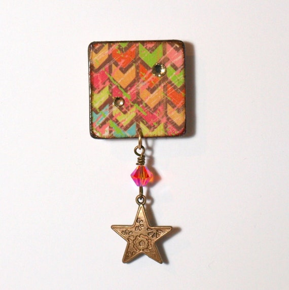 Chevron Pin Decoupaged Military Style Brooch Star Multicolor Square Lapel Pin Decoupage Jewelry