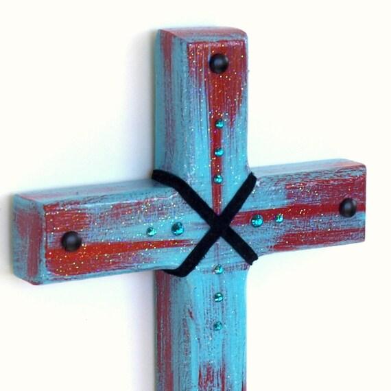 Handpainted Cross Wood Wall Cross Aqua Turquoise Red Decorated Cross Catholic Christian Art Teen Gift Contemporary Cross Clearance Sale