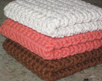 Crocheted Wash Cloths, Set of 3
