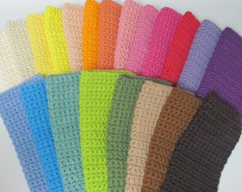 Cotton Crocheted Washcloths, Set of 4, Choose Your Colors