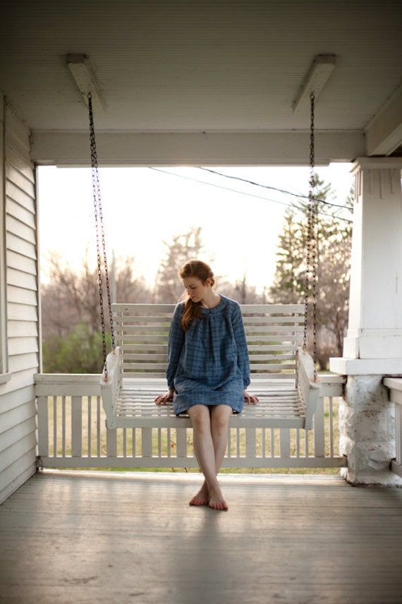 Silk/Linen Blue Henriette Dress ON SALE