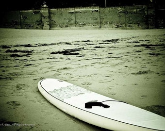 PHOTOGRAPH, Vintage Look Surf Board, Fine Art  5x7 Matted