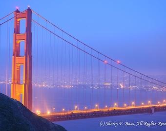 PHOTOGRAPH, Golden Gate Bridge at Night, Original Fine Art Photography