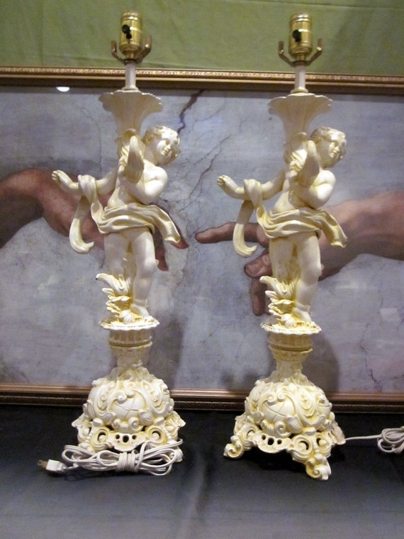 Pair  ANGEL CHERUB lamps country french   cottage cabin chippy farmhouse Italy Florentine