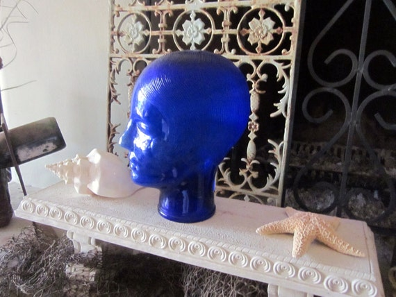 vintage MODERNIST blue glass head mannequin form hat wig jewelry display TWIGGY POP art mod