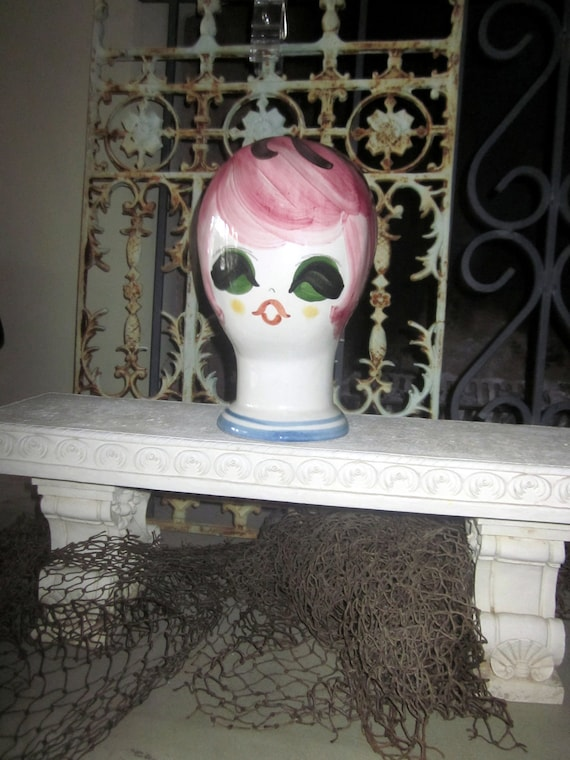 vintage 1960's POP art  Ceramic  Head  Mannequin Hat wig   Display like STANGL made in Italy Italian