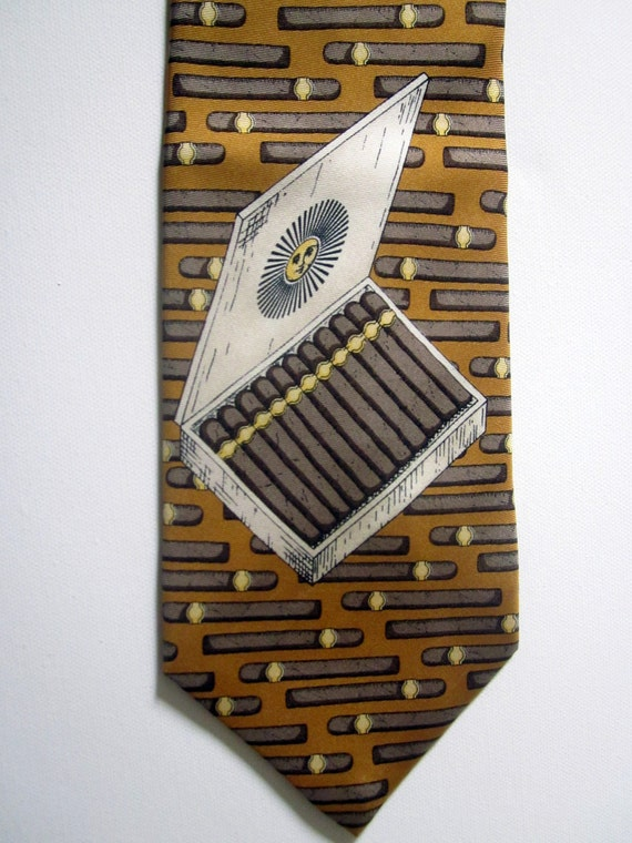 Fornasetti  Hollywood Regency silk tie CIGAR THEME new old stock with iconic sun