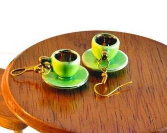 Green Tea Cup Earrings
