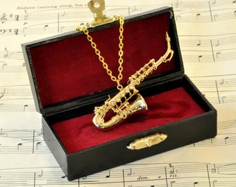 Alto Saxophone Necklace in Case, Music Necklace, Saxophone Jewellery